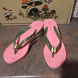 Juicy Couture Pink and Green Apple Thong Sandal